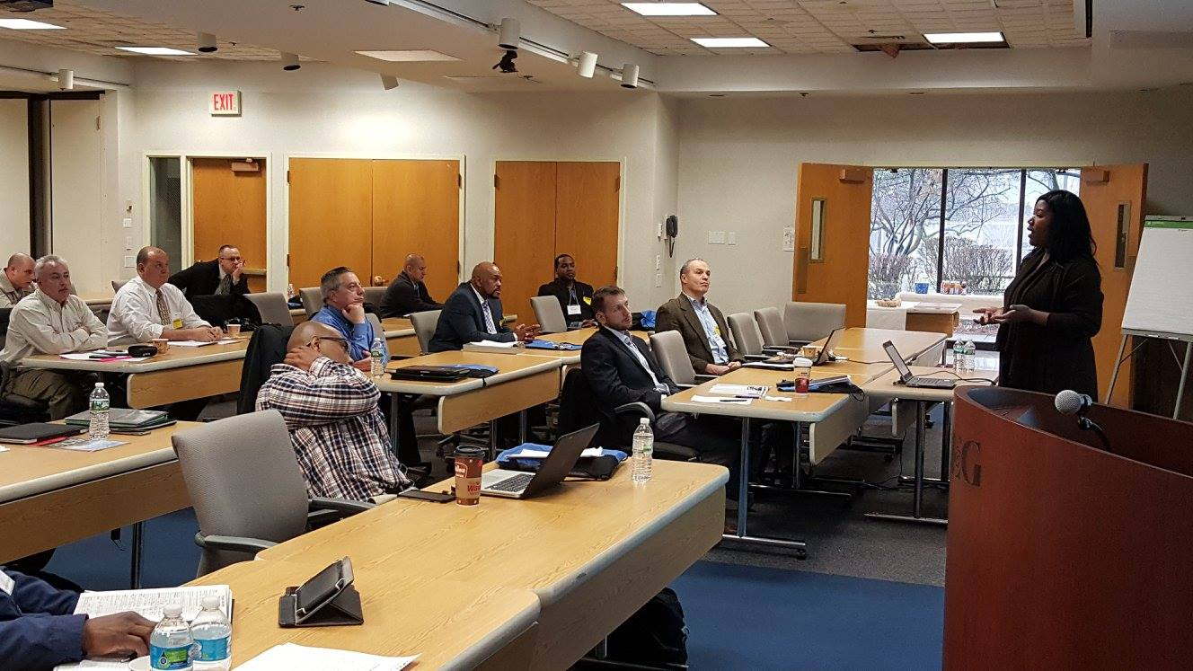 Kendall Ademu-John, HR Specialist - Diversity Outreach at PSEG, presenting resume writing skills to veterans at the PSEG Training Center in Edison, NJ