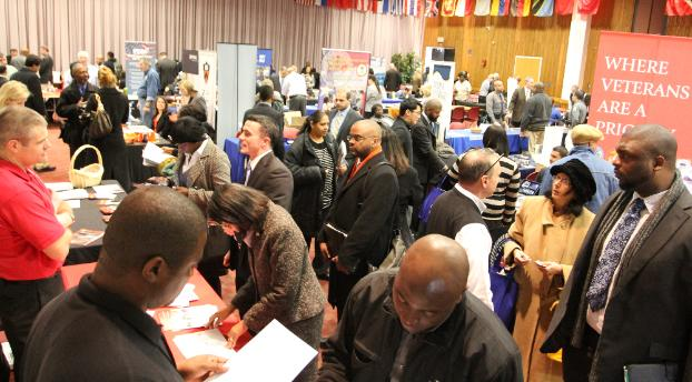 Hundreds of Veterans in search of employment opportunities crowd the Paul Robeson Campus Center at Rutgers Newark