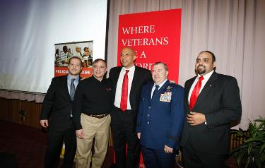 From left, G.I. Go Fund Deputy Director Alex Manis, Rutgers University Director of Veterans' Services Stephen Abel, Mayor Cory Booker, Adjutant  General Michael L. Cunniff, and GI Go Fund Executive Director Jack Fanous.