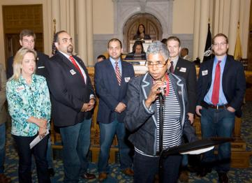 From Left to Right: Assemblywoman Alison Littell McHose (R), Deputy Minority Whip, GI Go Fund Executive Director Jack Fanous, GI Go Fund  Director of Communications James Fanous, Assemblywoman Cleopatra Tucker (D), Vice President of NJEA Wendell Steinhauer, and GI Go Fund  Deputy Director Alex Manis