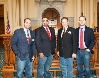 Jack Fanous, Executive Director of The GI Go Fund, along with Alex Manis and James Fanous, join Wendell Steinhauer of the NJEA in participating in Jeans for Troops Day. (l to r-James Fanous, Jack Fanous, Wendell Steinhauer, and Alex Manis)