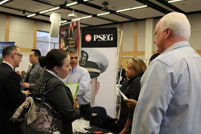 Hundreds of veterans and active duty personnel meet with over 60 exhibitors like PSEG at the Newark Veterans Job Fair at Rutgers Newark.