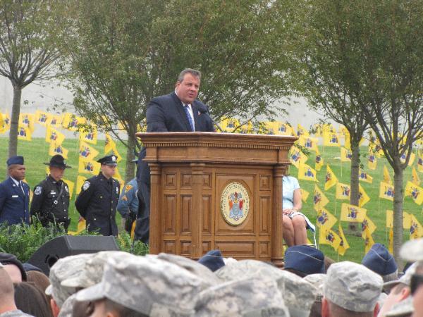 NJ Governor Chris Christie at 9/11 Empty Sky Memorial in Jersey City, NJ