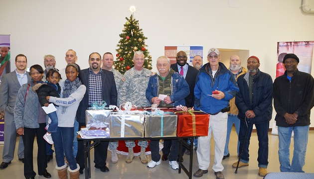 Brigadier General James Grant of the NJ National Guard and NJ Assemblyman Troy Singleton joined GI Go Fund Executive Director Jack Fanous, Deputy Director Alex Manis, and dozens of veterans at the Bordentown Armory for a GI Go Fund Holiday Gift Card Drive, one of many held throughout the region by the organization during the holiday season