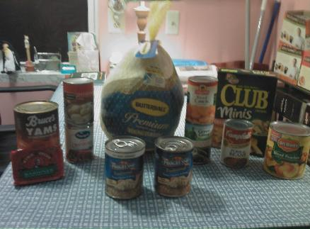 Items purchased by a veteran via a Foodtown Gift Card for a Thanksgiving Meal this year