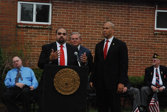GI Go Fund Executive Director Jack Fanous (left) fields questions from reporters alongside U.S. Senators Robert Menendez (center) and Cory Booker (right) from New Jersey during the VA Reform Bill press conference