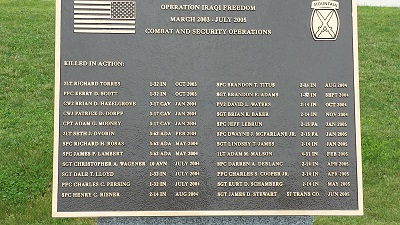 The plaque commemorating soldiers who died from the 10th Mountain Division during the start of the Iraqi Conflict, including Lt. Seth Dvorin (listed 6th from left).