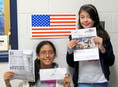 """Students from Franklin Middle School in Franklin, NJ participate in the """"Jeans for Troops"""" program during Veterans Day of 2012 to benefit the GI Go Fund"""